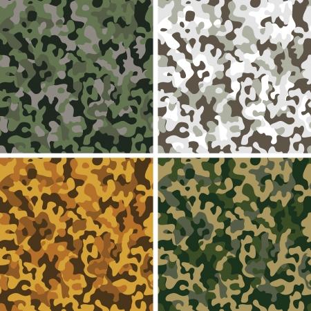 Set of camouflage digital pixel seamless patterns  일러스트