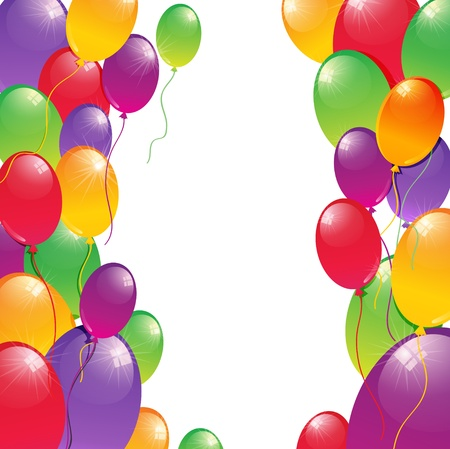 anniversary backgrounds: Background with colorful balloons and space for your text inside Illustration