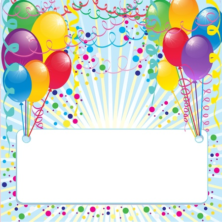 Background with colorful balloons and banner for your text inside Stock Vector - 17046043