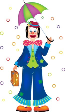 illustration of funny clown with umbrella Stock Vector - 17093763