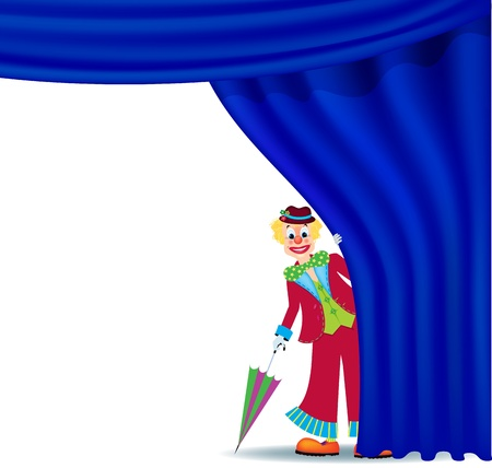 Cheerful clown, looking out for a theater curtain Stock Vector - 17158336