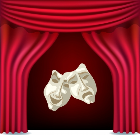 Red opened theater curtain with masks Vector