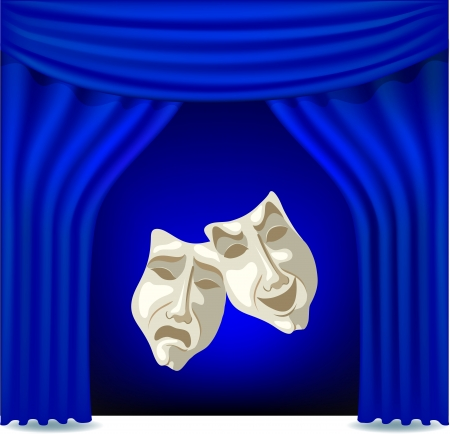 Blue opened theater curtain with masks Vector