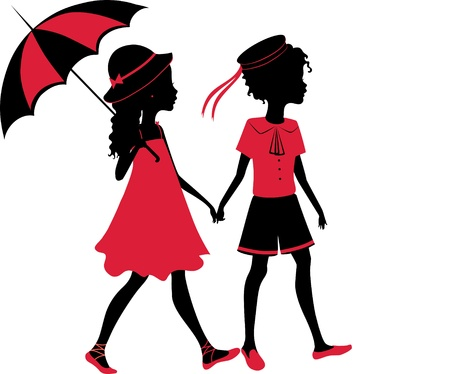 Vintage silhouette of a boy and girl walking with an umbrella