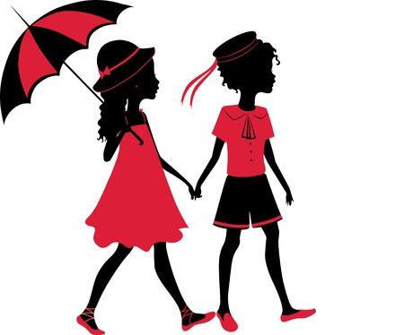 kinderen: Vintage silhouet van een jongen en een meisje lopen met een paraplu Stock Illustratie