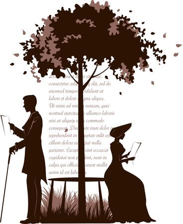 braun: Retro illustration of reading couple under the tree