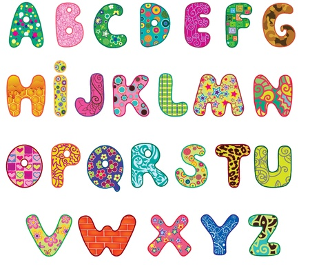 Cute colored textured alphabet   Letters made with original patterns and masks  Vector