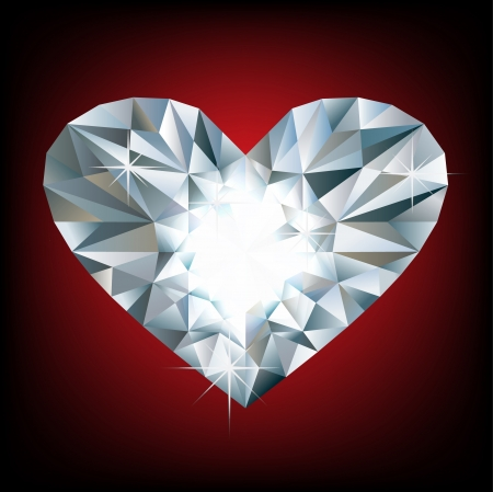 coeur diamant: Vector coeur diamant brillant sur fond rouge
