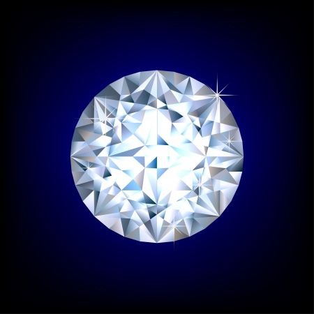 Shiny round diamond on blue background