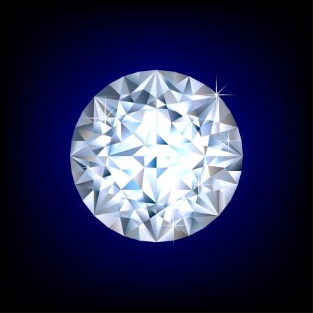 Glanzende ronde diamant op blauwe achtergrond