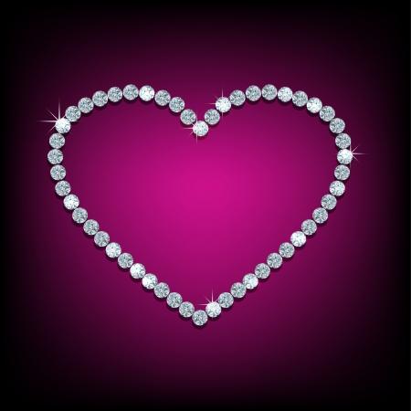 Vector glanzende gemaakt met diamant hart op paarse achtergrond