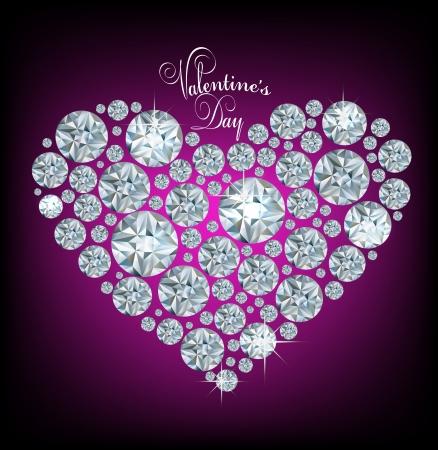 Vector brillante hecho con corazón de diamante sobre fondo morado