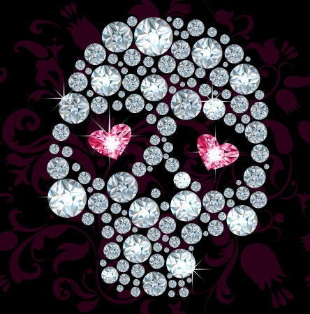 Silhouuette of skull made with shiny diamonds Vector