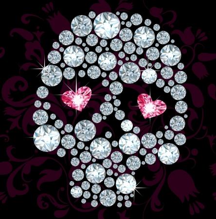 Silhouuette van de schedel gemaakt met glimmende diamanten Stock Illustratie