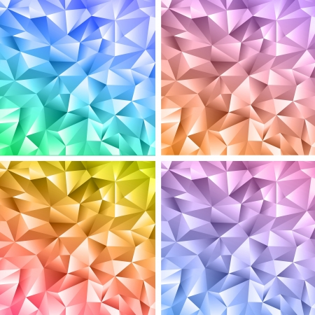 Set of four abstract crystal colorful backgrounds