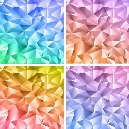 Set van vier abstracte kristal kleurrijke achtergronden