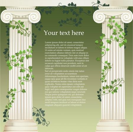 pilastri: Due colonne ioniche intrecciate con edera