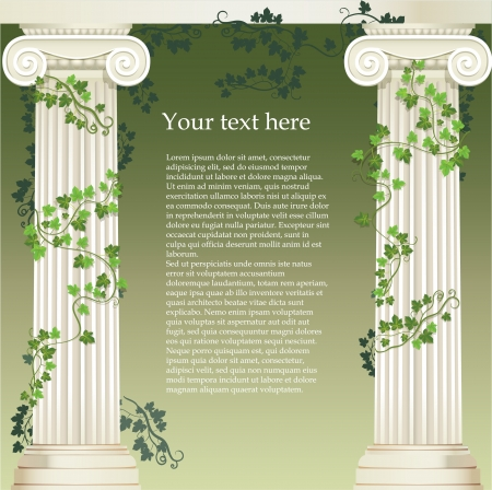 Two Ionic columns entwined with ivy Vector