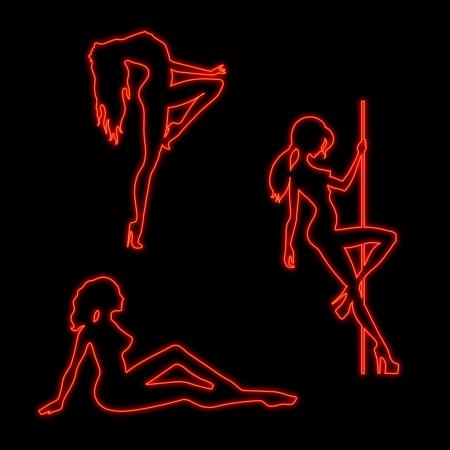 Set of neon silhouettes of dancing girls 일러스트