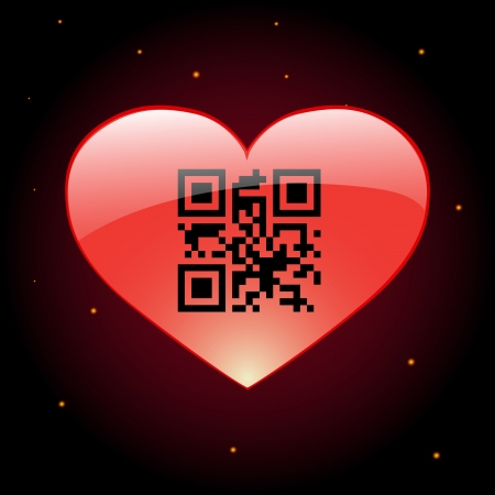 Glossy heart with qr code inside Vector