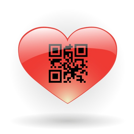 upcode: Glossy heart with qr code incide
