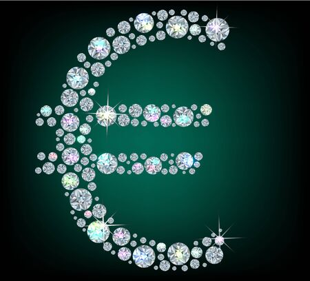 carats: Sign Euro  made with shiny diamonds Illustration