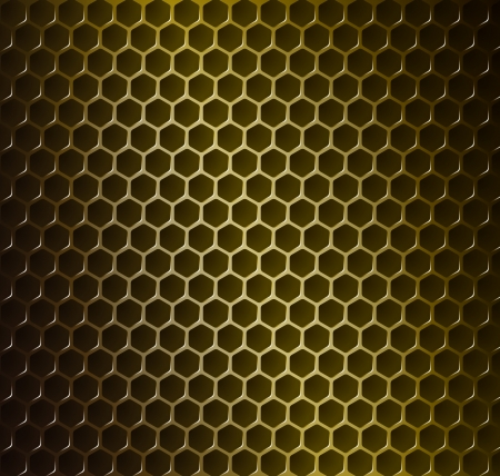 illustration of gold metal grid with rounded honeycombs Vector
