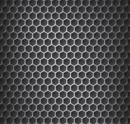 metal grid:  illustration of chromemetal grid with rounded honeycombs