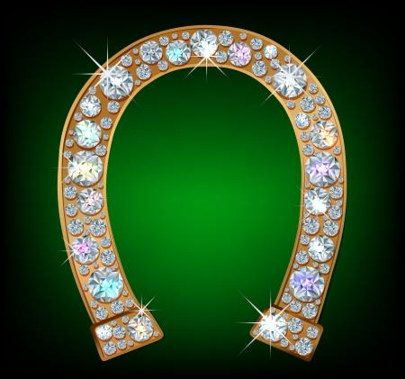 Golden horseshoe with shiny diamonds 일러스트