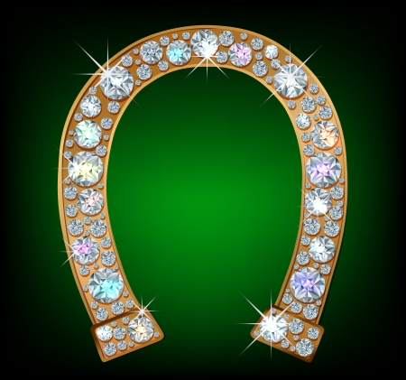 Golden horseshoe with shiny diamonds Illustration