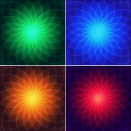 centric: Set of centric backgrounds with stylized geometric flower