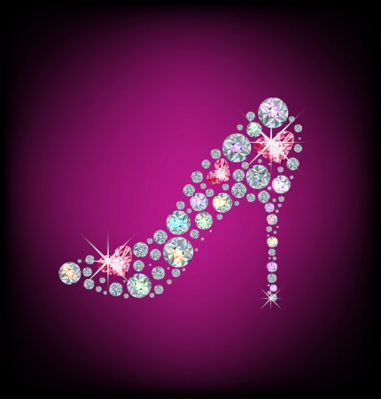 Elegant ladies shoes, made with shiny diamonds Vector