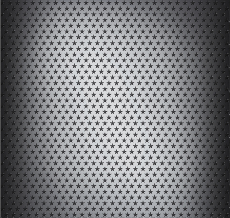 illustration of chrome metal grid with holes in the shape of stars Vector