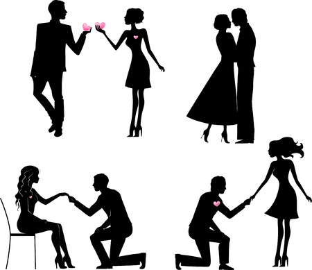 kneeling: Set of silhouettes of man and woman in love