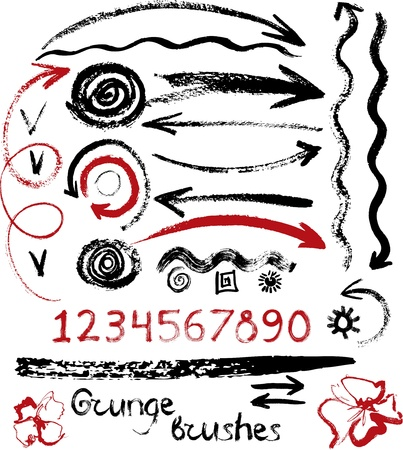 Set of arrows, numbers, brushes and design elements 版權商用圖片 - 18064892