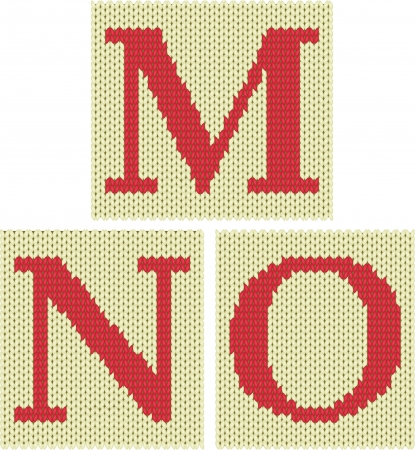 knitted fabrics: Set of knitted silhouette figures letters