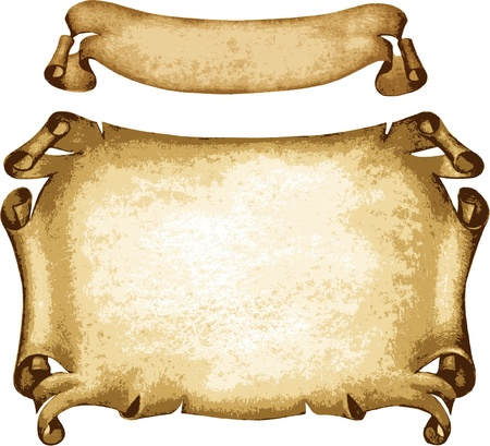 Old parchments on white background Vector