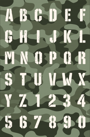 Stencil font on a military background Vector