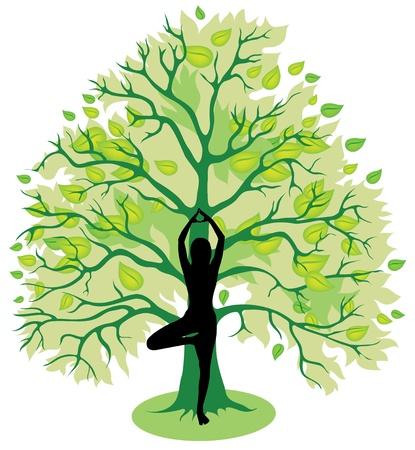 Silhouet van het meisje, staande in boom yoga pose