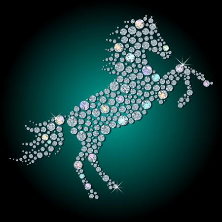 Silhouet van paard-symbool 2014 jaar, gemaakt met geslepen glanzende diamant