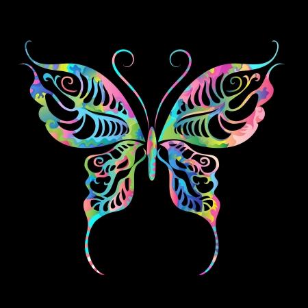 tekening vlinder: Zonsondergang in de zomer veld