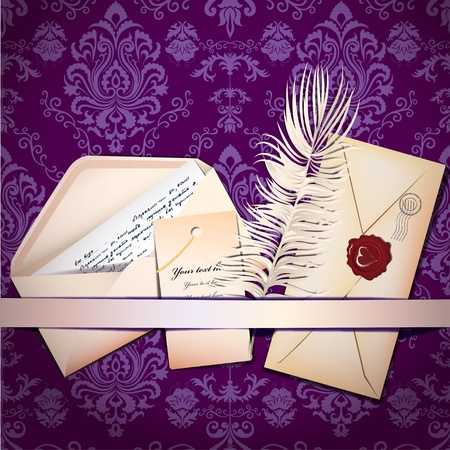 old envelope: Background with envelopes and feather