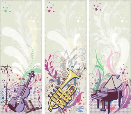 Set of musical backrgounds Vector
