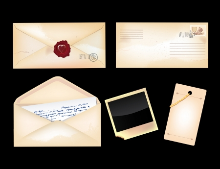 sealing wax: Set of vintage envelopes and photo Illustration