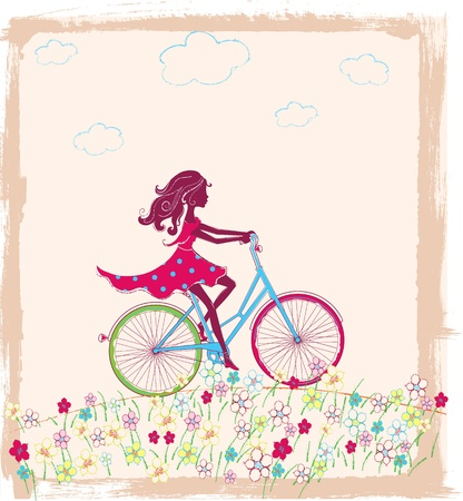 spokes: Vector illustration silhouette of girl on bike outside Illustration