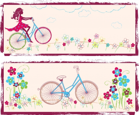 Two horizontal illustrations with girl and bike Ilustração
