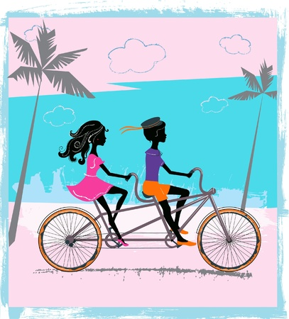 Boy and girl riding on a tandem Vector