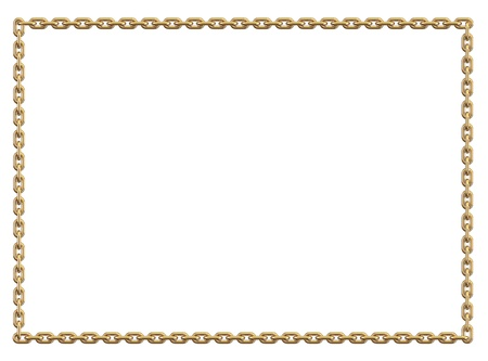 Frame, made with golden chain on white background Stock Photo - 19575986
