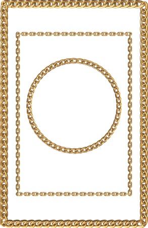 prestige: Set of frames, made with golden chains Illustration
