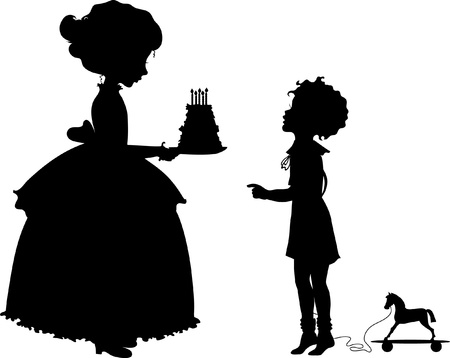 holyday: Silhouette of girl and boy with holiday cake